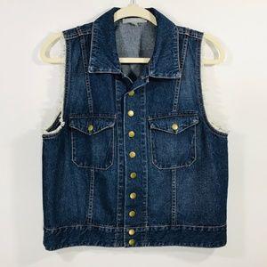 Denim Vest W/ Fur On Sleeves Women's SZ Large